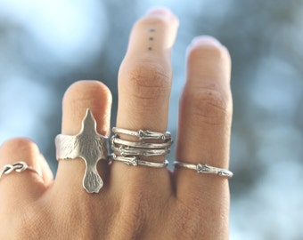 SALE -  Artemis ; Sterling Silver Branch Twig stack ring