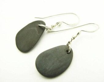 Natural Stone Earrings Pebble Jewelry River Rock Black Stone Dangle Earrings Earthy Jewelry Lake Superior Stones
