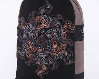 Psychedelic Mandala Backpack, Laptop Backpack 13-15-17 inch, Laptop Bag, Festival Backpack, Uv Glow, School Backpack