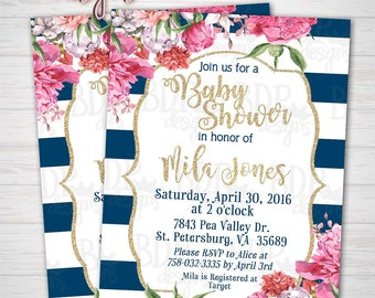 FLORAL Gold Glitter with Navy and White Stripes Baby Shower Invitation-Customized Digital Download OR Prints (Details Below)
