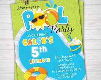 Pool Party Birthday Invitation, Swimming Party, Boy Birthday, Summer Birthday, 5th/ANY Birthday-Customized Download OR Prints-Details Below