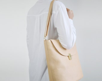Bucket Bag Nude Leather with Cotton Lining, big hobo bag,  tan shoulder bag, leather shopper, crossbody bag