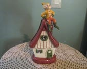 Vintage 1950s Pixie Elf On Cottage Wall Vase / 50s Pocket Vase