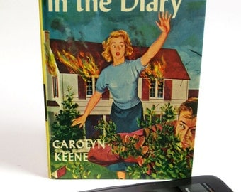 Nancy Drew Kindle Case Made from Clue in the Diary Book from 1962, with Polka Dot Lining, Fits Kindle Fire, Voyage, Nook, Nexus 7, LG Pad