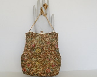 50s VINTAGE EVENING BAG|Great Gatsby Tapestry Evening Purse|Beaded and Tapestry Chain Purse|Vintage Handbags on Etsy|Cross body chain Purse