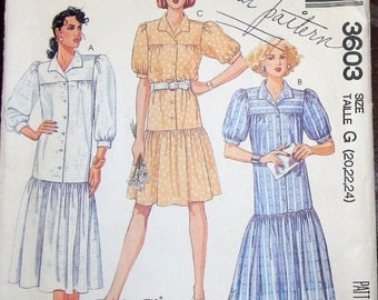 Vintage 1980s Sewing Pattern McCall's 3603 Duster Dress, Button Front Middy Smock, Womens Misses Size 20 22 24 Bust 42 44 46 Cut Complete