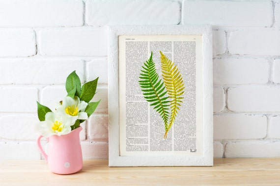 Spring Sale Vintage Book Print Green fern n02  Printed on Vintage Dictionary Book wall art home decor BPBB126
