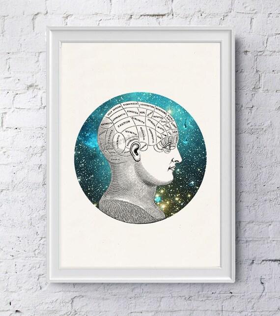 Phrenology Brain Study galactic collage. Gift for science student. Wall decor- Doctors gift-Wall art Human Anatomy Galaxy art SKA226WA4