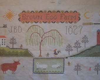 Brown Egg Farm primitive cross stitch pattern by Notforgotten Farm at thecottageneedle.com cow rooster prime hand embroidery