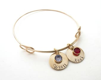 Personalized Gold Bracelet - Custom Birthstone Bangle - Mothers Bracelet - Grandma - Kids Names - Personalized Jewelry - Engraved
