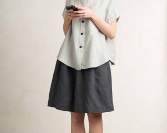 Linen women's shirt, Loose fit shirt for woman, Short sleeve shirt, Dove grey linen shirt, Linen top, Linen women's clothing by LHI
