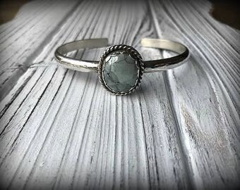 Tree Frog Variscite Heavy Sterling Silver Hammered Cuff