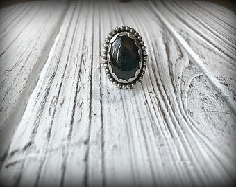 Black Star Diopside Sterling Silver Ring - Size 7.75