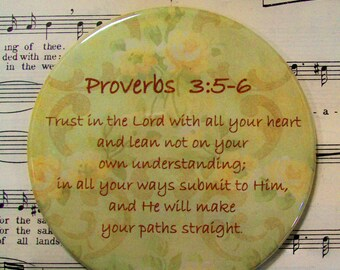 Scripture Magnet, Trust in the Lord with All Your Heart Magnet, Proverbs 3:5-6, Large Magnet, Housewarming Gift Magnet