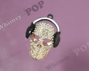 1 - 3d Gold Tone DJ Headphones Crystal Rhinestone Skull Charm, Skull Charm, DJ Pendant, 52mm x 36mm (R8-224)