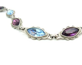 1928 Rhinestone Bracelet. Amethyst, Aqua Navette Crystals. Silver Tone Links. Swirl Design. Antique Art Deco Style. Vintage 1970's Jewelry