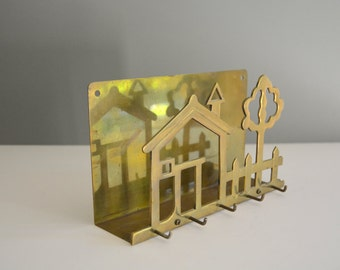 Brass Home Organizer Key Hooks - Wall Rack Keys Mail Organize