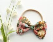 Spring Floral Bow - Floral Bow Headband - Floral Bow Clip - Flower Bow - Tan Pink Flower Bow - Spring Bow - Nylon Headband - Baby Bow Clip