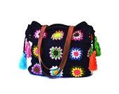 Large crochet granny handbag with tassels and genuine leather handles, black large purse boho shoulder bag, crochet tote bag floral tassels