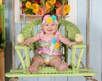 Easter Romper - Baby Romper - Easter Dress - Easter Outfit - Baby Romper - Ruffle Romper-Lace Petti Romper -baby easter Outfit -Easter dress