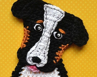 Crochet pattern - bernese mountain dog applique - by VendulkaM /digital pattern DIY/ pfd