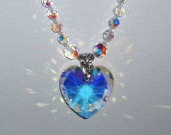 SALE! Clear AB Swarovski Crystal Heart Pendant Necklace
