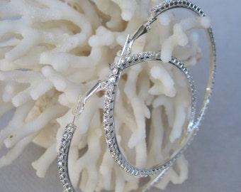 "Sparkling Bold 3"" Diameter Faceted Clear Crystal Hoop Earrings"