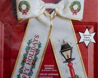 Michael A LeClair | Bow Ties | HOLIDAY SPARKLE | Christmas | Counted Cross Stitch Kit | JCA