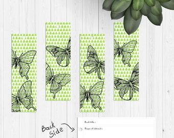 Digital, printable, Fresh and bright, green, handpainted bookmarks