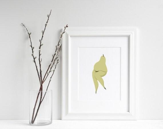 """Dame Pear - Fruit Print- 6""""x8"""" Print"""