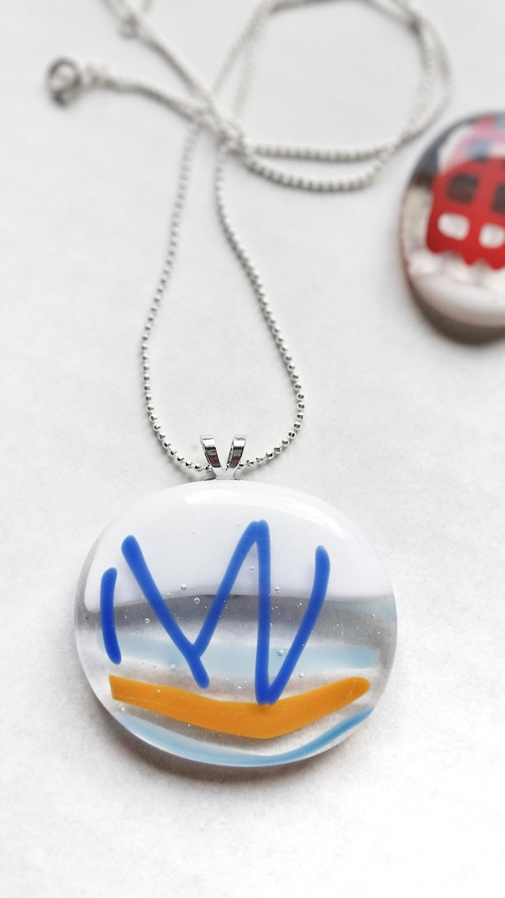 Glass Pendant with Silver Chain, Blue, Orange and White