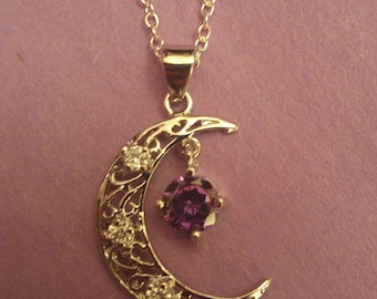 Sparking Moon Necklace silver plated 24 inch chain