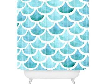 La Mer ocean-theme waves shower bath curtain guest bathroom decor, nautical bath decor, housewarming newlywed gift, pisces beach house decor