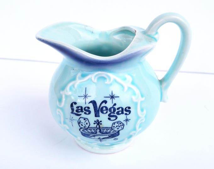 Vintage 1950's Las Vegas Souvenir Miniature Blue Ceramic Pitcher