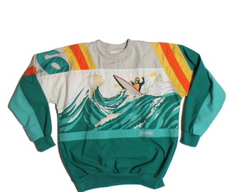 Vintage 80s Adidas Olympic Amuza River Devil's Toenail Kayaking Pullover Shirt