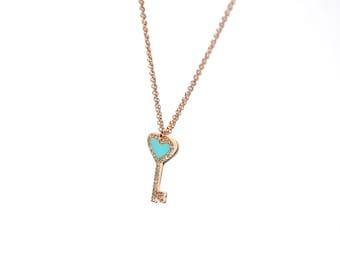 14k Pave Diamond Turquoise Pendant/Necklace