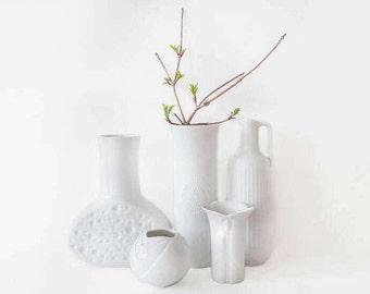 5 Vintage German Glossy White Porcelain Vases