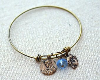 St Peregrine, Mother of Sorrows - Expandable Bangle Bracelet - Patron of Cancer Patients