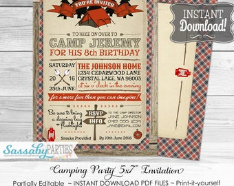 Camping Party Invitation / INSTANT DOWNLOAD / Partially Editable & Printable / Camp Birthday / Outdoors / Wilderness / Birthday Party Invite