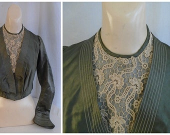 1900s Antique Edwardian Bodice Green Silk with Lace Vintage Waist
