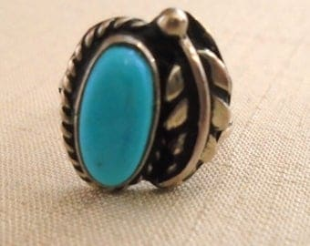Vintage 1950s Ring Turquoise and Silver Ring Leaf Detail Size 5 Native American