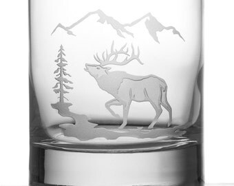 Elk, 13oz Rocks Glass, Etched (Sandblasted), Original Design