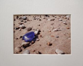 Lake Michigan Royal Blue Beach Glass 5x7 Matted Photo