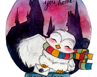Print - Hogwarts Owl and Letter - Fandom art print - Harry Potter Painting- Fandom art - Disney Painting - Book lovers - Gifts for Booknerds
