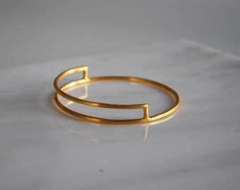 Gold Plated Bangle, Geometric Bangle, Brass Bangle, Modern Bangle, Simple Bangle