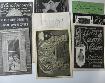 Antique crochet booklets, Downton Abbey style, early 20th century, patterns