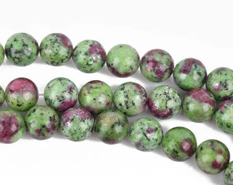 10mm RUBY ZOISITE Round Gemstone Beads, green and ruby purple, full strand, 38 beads, gms0051