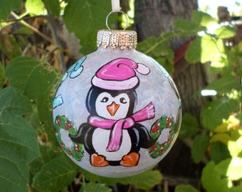 Hand Painted Ornament,  Penguin Ornament , glass christmas ornament, tree decoration 285