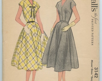 1950's McCall's 3142 Misses' V Neck Dress Cap Dolman Sleeves Flared Skirt Vintage Sewing Pattern Bust 30