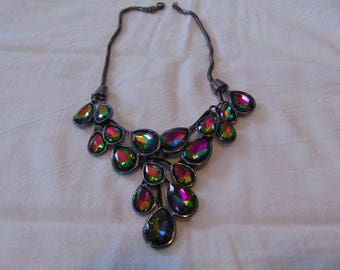 vintage kirks folly signed watermelon tourmaline crystals bib necklace anthricite mint unused
